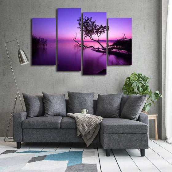 Purple Serene Sunset Canvas Wall Art Prints