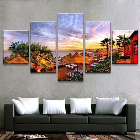 Beach Side Resort Canvas Wall Art Living Room