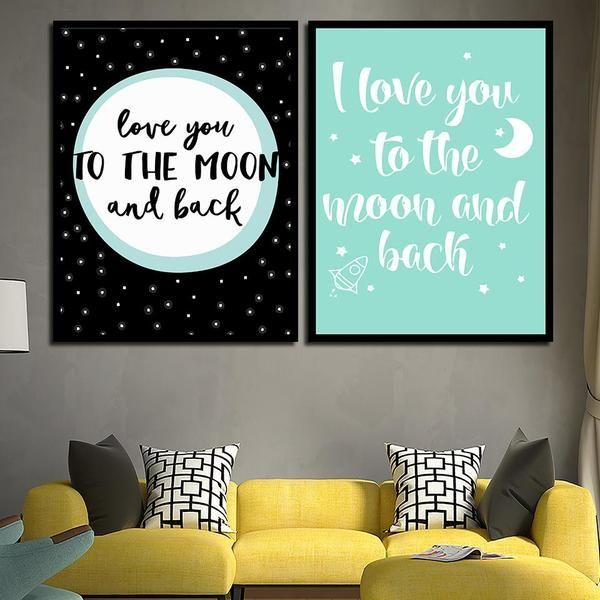 Love You To The Moon Quote Canvas Wall Art Canvasxnet