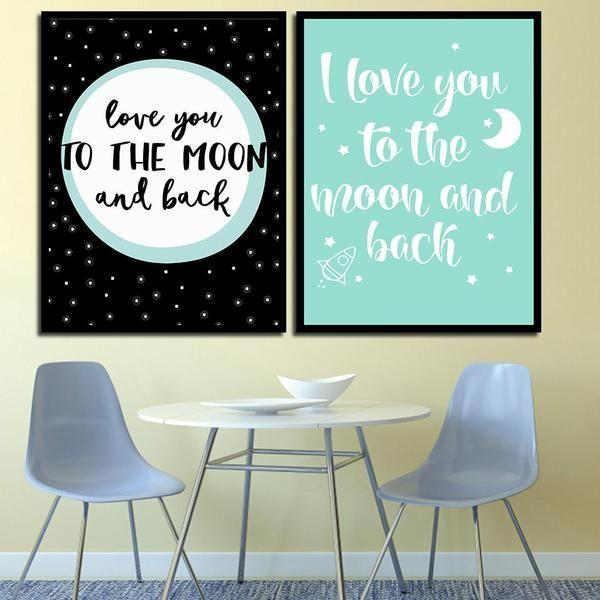 Love You To The Moon Quote Canvas Wall Art Canvasxnet Mesmerizing Canvas Love Quotes