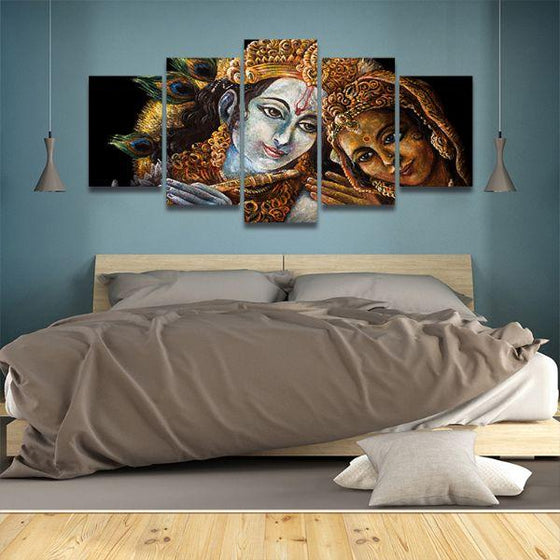 Radha & Krishna With Flute 5-Panel Canvas Wall Art Bedroom