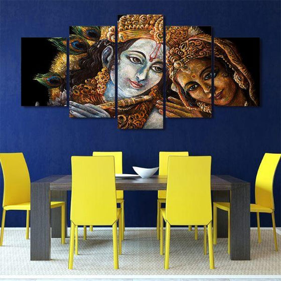 Radha & Krishna With Flute 5-Panel Canvas Wall Art Dining Room