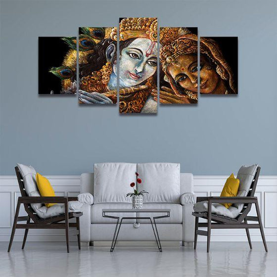 Radha & Krishna With Flute 5-Panel Canvas Wall Art Living Room
