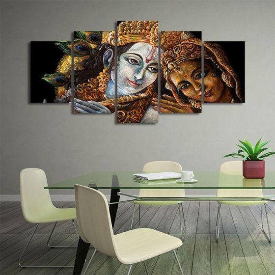Radha & Krishna With Flute 5-Panel Canvas Wall Art Office