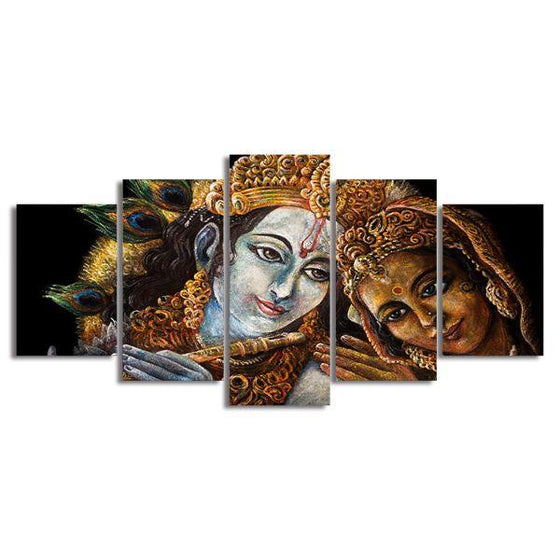 Radha & Krishna With Flute 5-Panel Canvas Wall Art