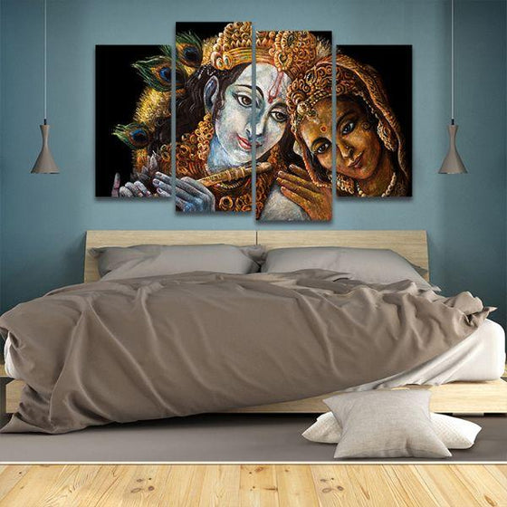 Radha & Krishna With Flute 4 Panels Canvas Wall Art Bedroom