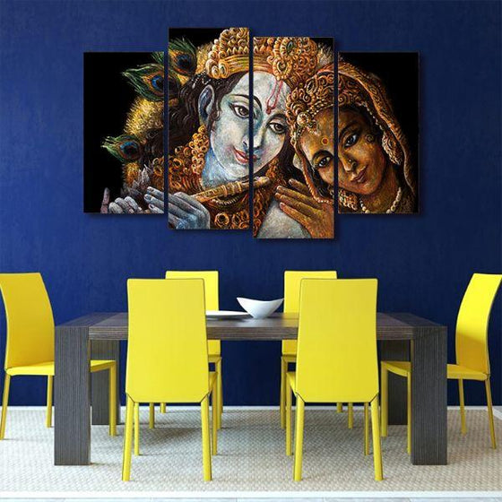 Radha & Krishna With Flute 4 Panels Canvas Wall Art Dining Room