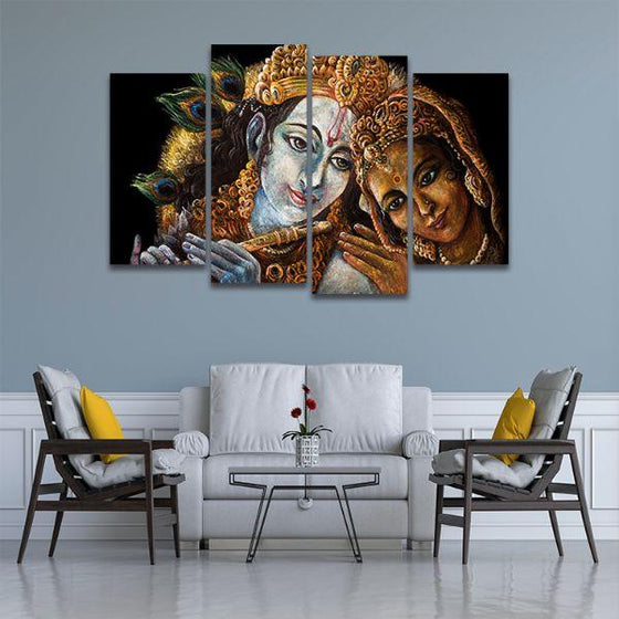 Radha & Krishna With Flute 4 Panels Canvas Wall Art Living Room