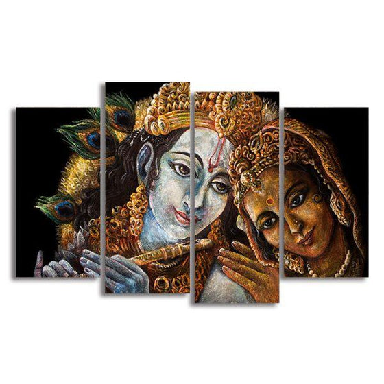 Radha & Krishna With Flute 4 Panels Canvas Wall Art