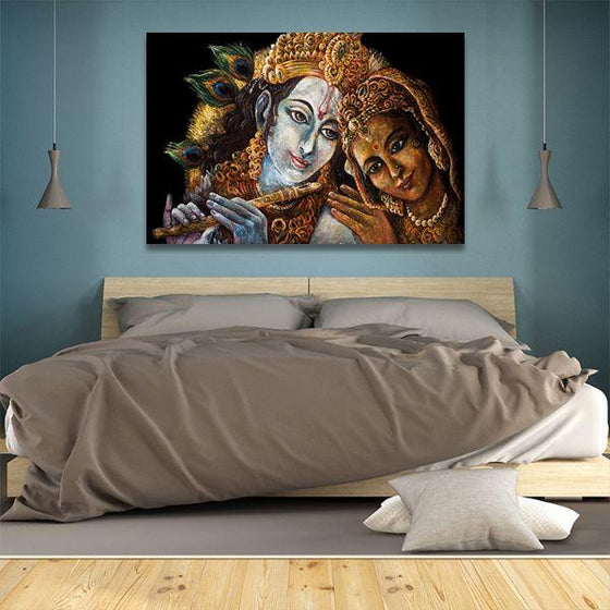 Radha & Krishna With Flute Canvas Wall Art Bedroom