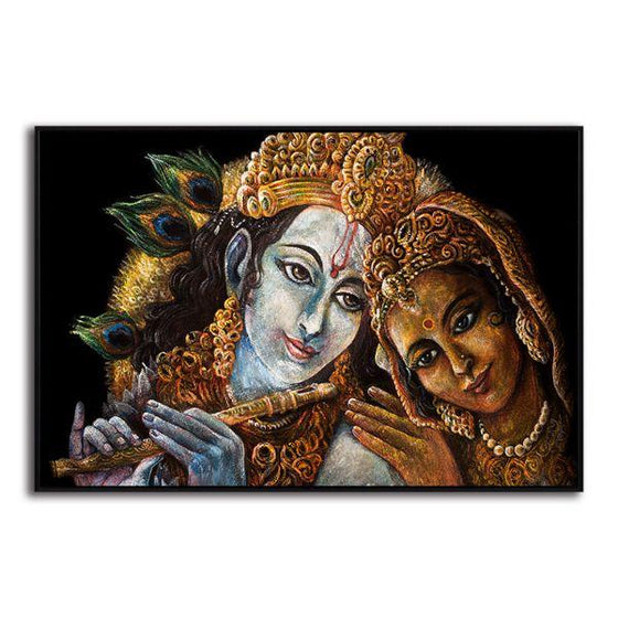 Radha & Krishna With Flute Canvas Wall Art Decor
