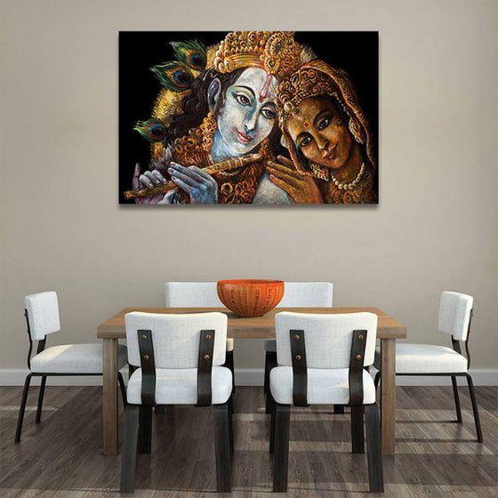 Radha & Krishna With Flute Canvas Wall Art Dining Room