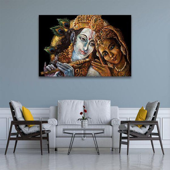 Radha & Krishna With Flute Canvas Wall Art Living Room