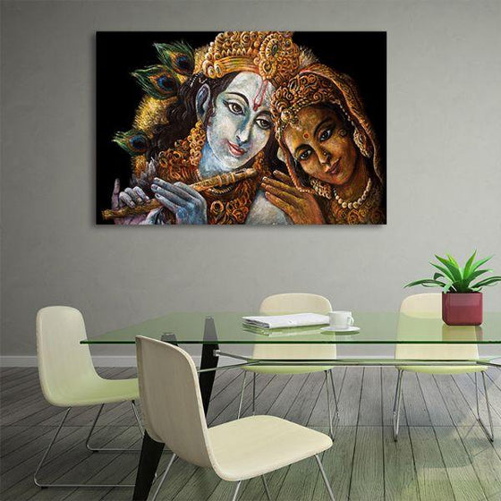 Radha & Krishna With Flute Canvas Wall Art Office