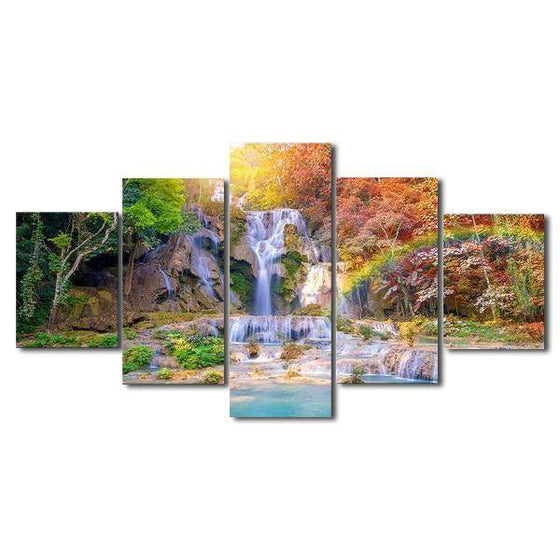 Scenic Rainbow Waterfall View Canvas Wall Art