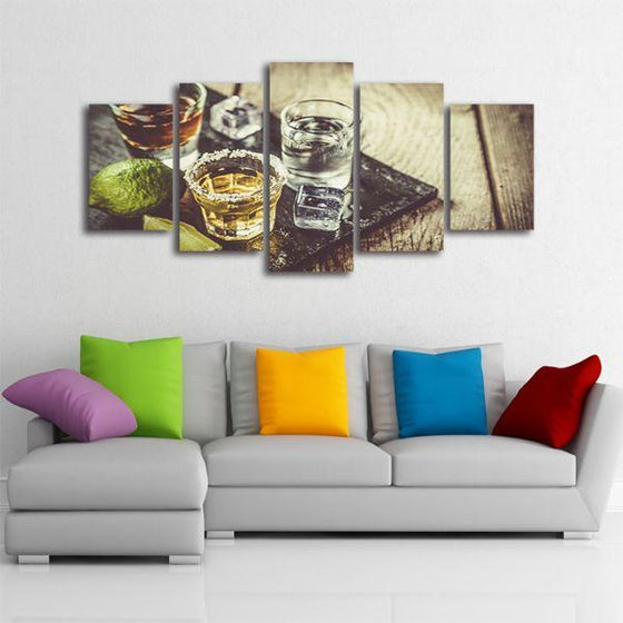 Single Shots Of Liquor 5 Panels Canvas Wall Art Living Room