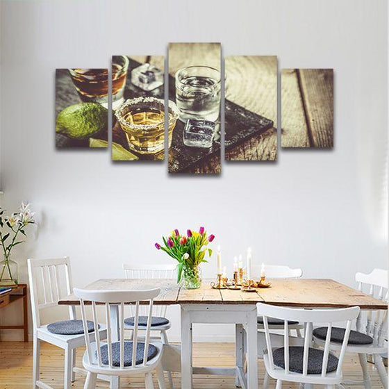 Single Shots Of Liquor 5 Panels Canvas Wall Art Kitchen