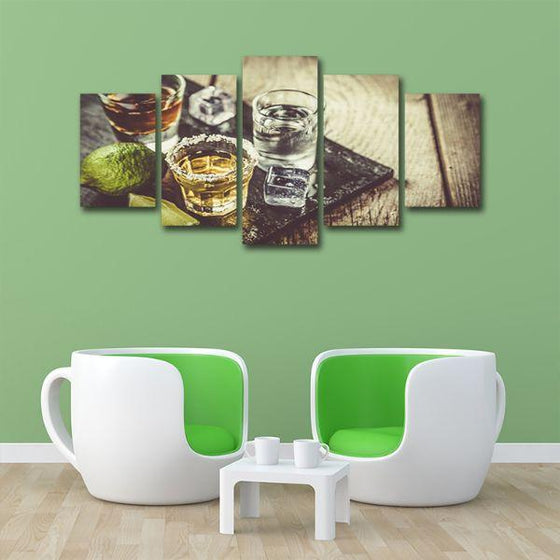 Single Shots Of Liquor 5 Panels Canvas Wall Art Office
