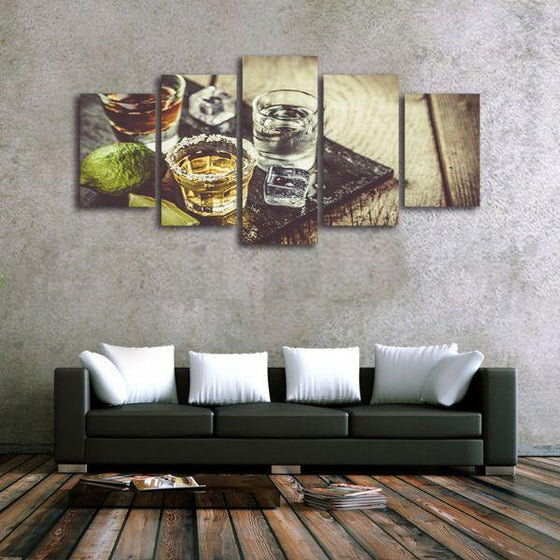 Single Shots Of Liquor 5 Panels Canvas Wall Art Ideas