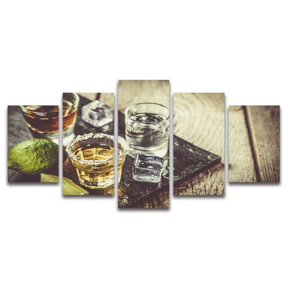 Single Shots Of Liquor 5 Panels Canvas Wall Art
