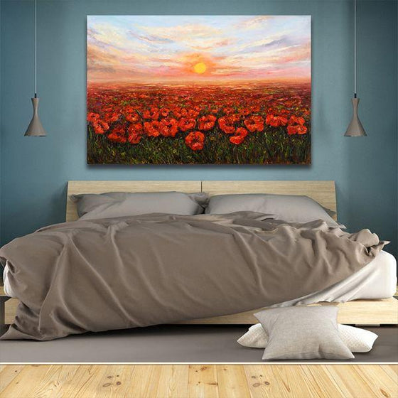 Red Poppy Field At Sunset Canvas Wall Art Bedroom