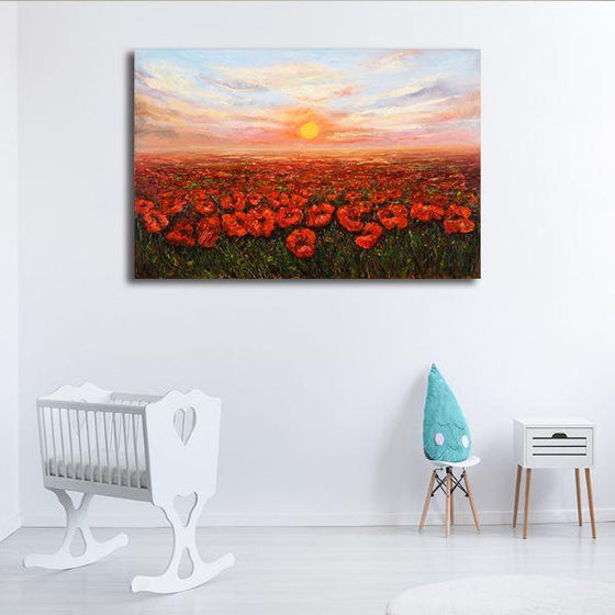 Red Poppy Field At Sunset Canvas Wall Art Decor