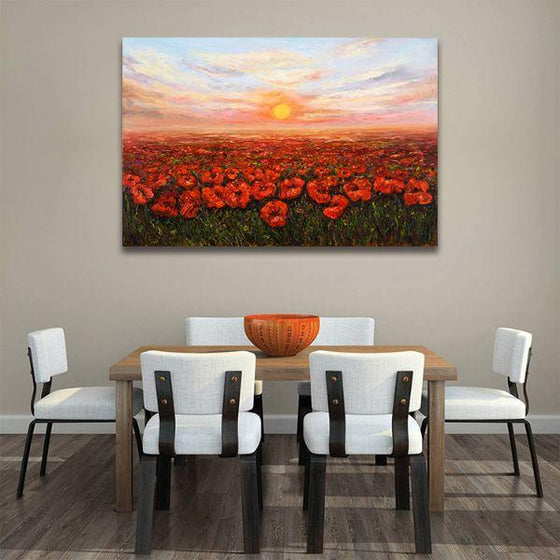 Red Poppy Field At Sunset Canvas Wall Art Dining Room