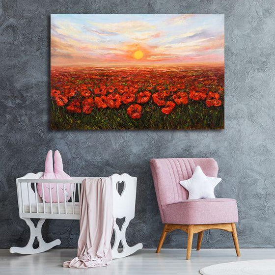 Red Poppy Field At Sunset Canvas Wall Art Nursery
