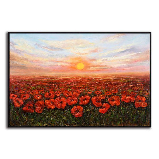 Red Poppy Field At Sunset Canvas Wall Art Print