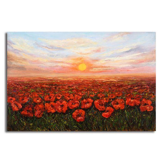 Red Poppy Field At Sunset Canvas Wall Art