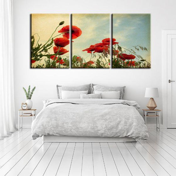 Red Poppy Flowers 3 Panels Canvas Wall Art Bedroom