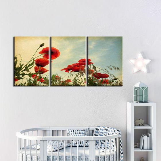 Red Poppy Flowers 3 Panels Canvas Wall Art Decor