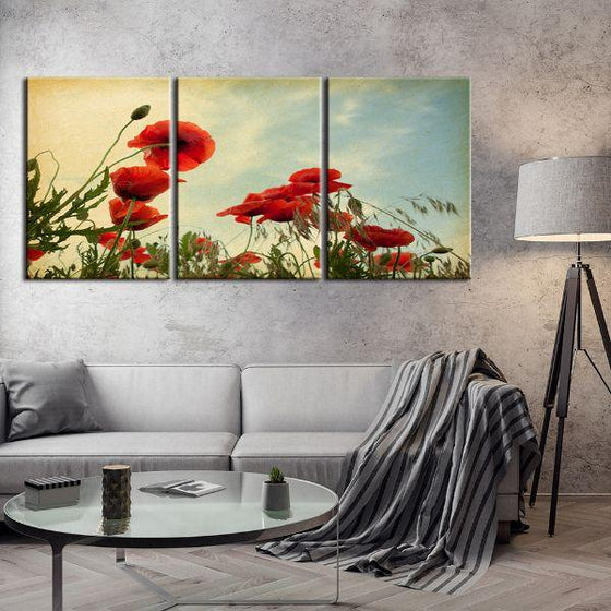 Red Poppy Flowers 3 Panels Canvas Wall Art Living Room