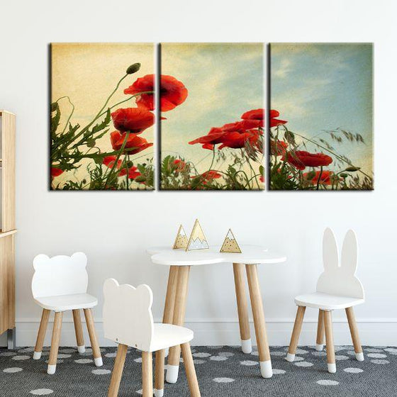 Red Poppy Flowers 3 Panels Canvas Wall Art Set