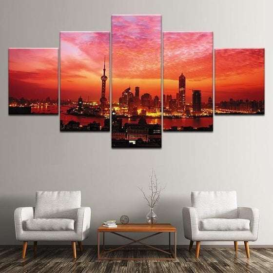 Red Sunset Wall Art Canvas