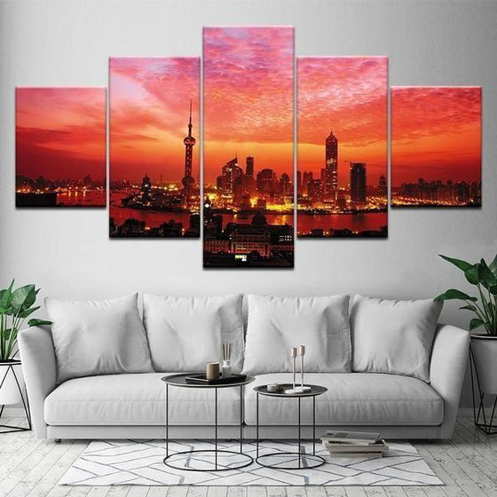 Red Sunset Wall Art Decors