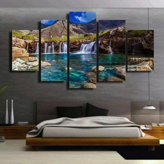 Clear Blue Waterfalls Canvas Wall Art Bedroom