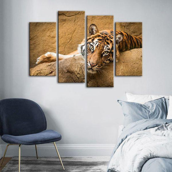 Relaxed Wild Tiger 4 Panels Canvas Wall Art Bedroom