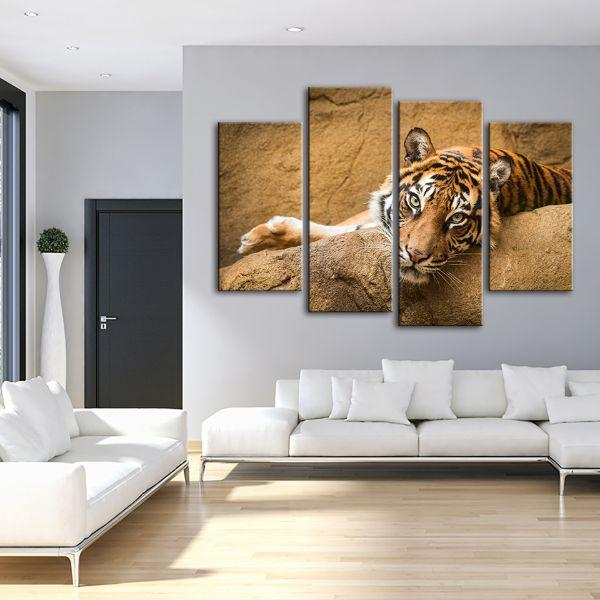 Relaxed Wild Tiger 4 Panels Canvas Art