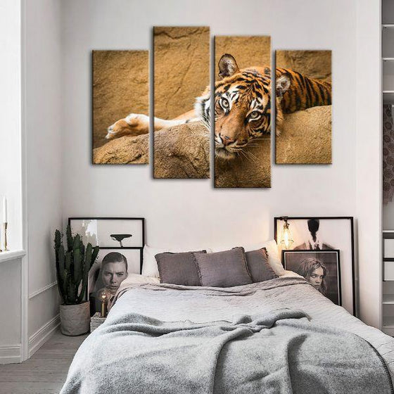 Relaxed Wild Tiger 4 Panels Canvas Wall Art Set