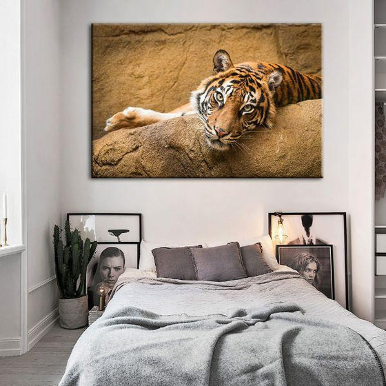 Relaxed Wild Tiger Canvas Wall Art Bedroom