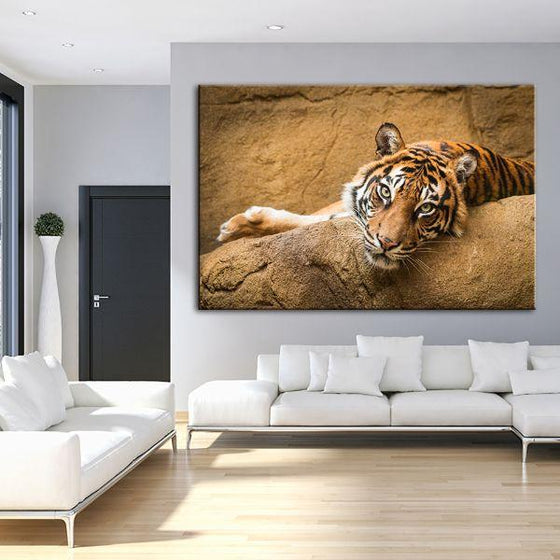 Relaxed Wild Tiger Canvas Wall Art Living Room