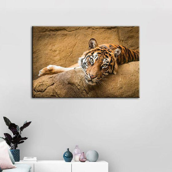 Relaxed Wild Tiger Canvas Wall Art Print