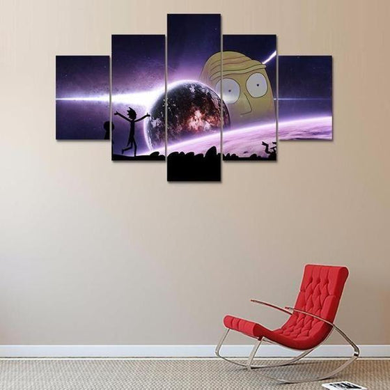 Rick and Morty Inspired Earth Reflection Canvas Wall Art Living Room