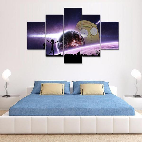 Rick and Morty Inspired Earth Reflection Canvas Wall Art Bedroom