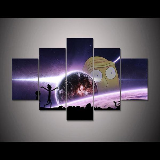 Rick and Morty Inspired Earth Reflection Canvas Wall Art Prints