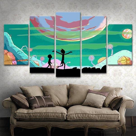 Rick and Morty Inspired Lunar Canvas Wall Art Living Room