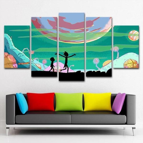 Rick and Morty Inspired Lunar Canvas Wall Art Decor