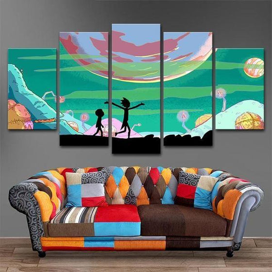 Rick and Morty Inspired Lunar Canvas Wall Art Prints