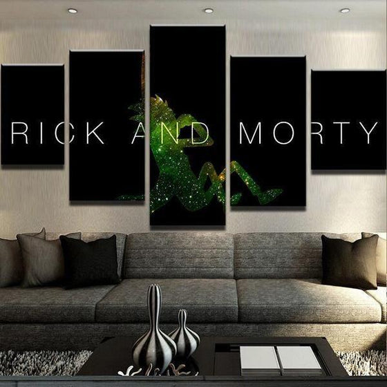 Rick & Morty Inspired Green Silhouette Canvas Wall Art